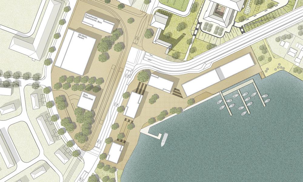 So stellen sich die Planer die Uferzone und das Gewerbegebiet vor. Blick aus der Vorgelperspektive.