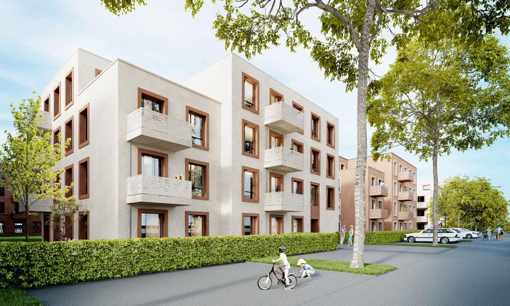Entwurf der Bauvorhaben auf dem Baufeld WA2 in der Roten Kaserne West.
