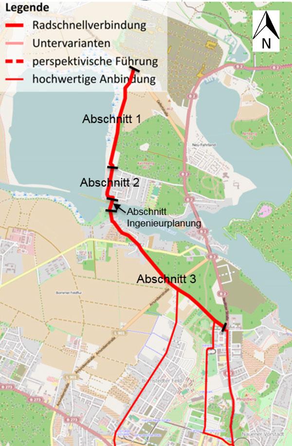 Radschnellverbindung von Fahrland über den Sacrow-Paretzer Kanal, die noch gebaut werden soll, die Umsetzung wird in Teilabschnitten vollzogen.