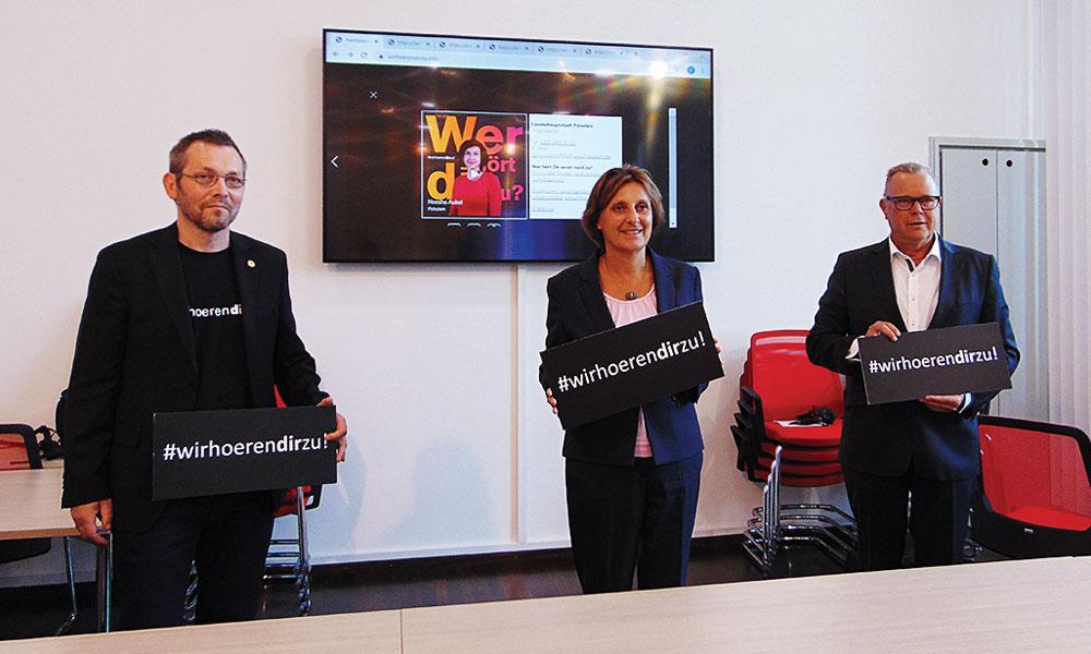 Hans Leitner, Britta Ernst und Michael Stübgen stellen die neue Kampagne vor (v. l. n. r. )
