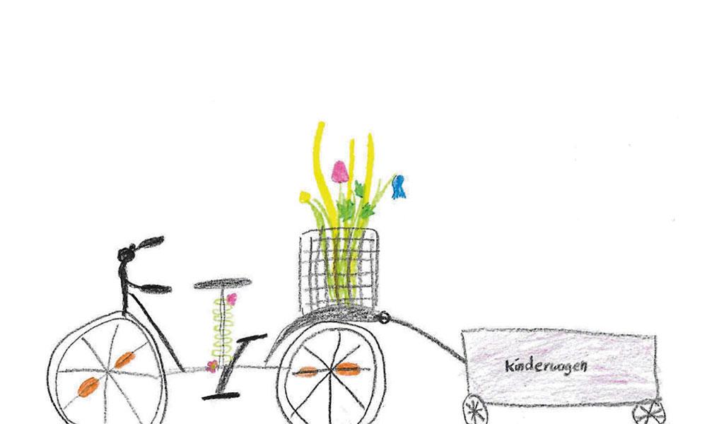 Hannah (8) hat gemalt, wie sie sich das neue Lastenrad vorstellt: Auf jeden Fall mit Blumen.