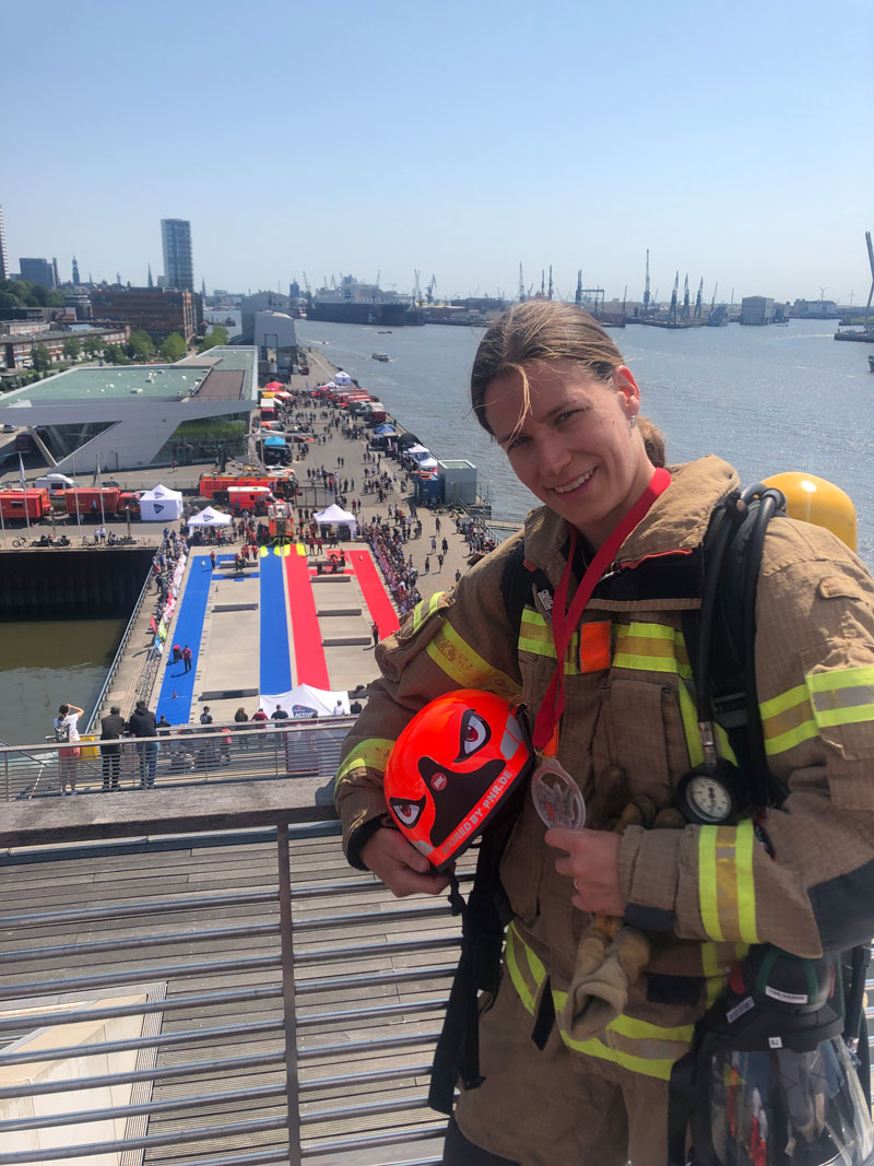 Marie Schumann bei den Firefighting Games 2019 in Hamburg