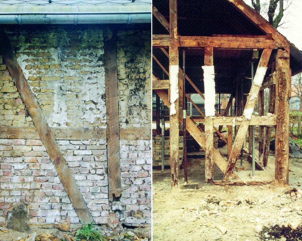 Haus Nr. 8 – Eines der heutigen Wohnhäuser. Nach dem Kauf in der Phase der Restaurierung (um 2002) Foto: Dr. Hermann Kremer