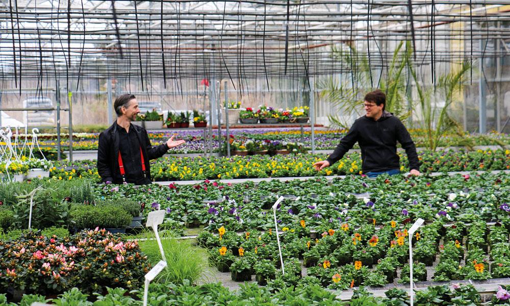 Brandenburger Landtagsabgeordneter Uwe Adler (l.) spricht mit Gärtnereiinhaber Christian Buba (r.) über die Herausforderungen der Branche